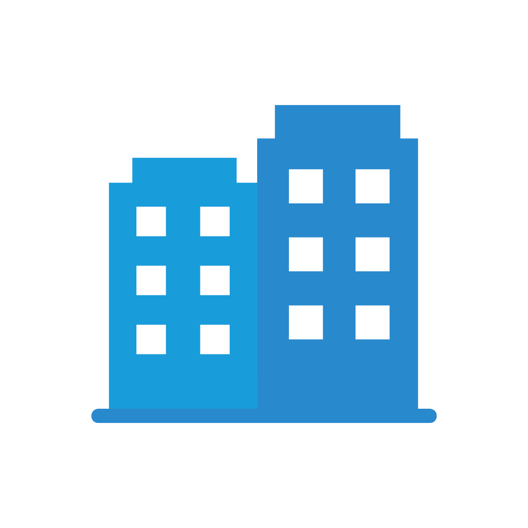 Blue apartment building icons