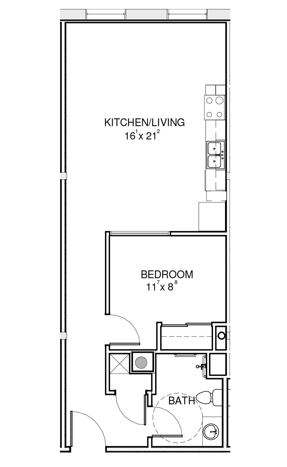 the hawks one bedroom floorplan demo