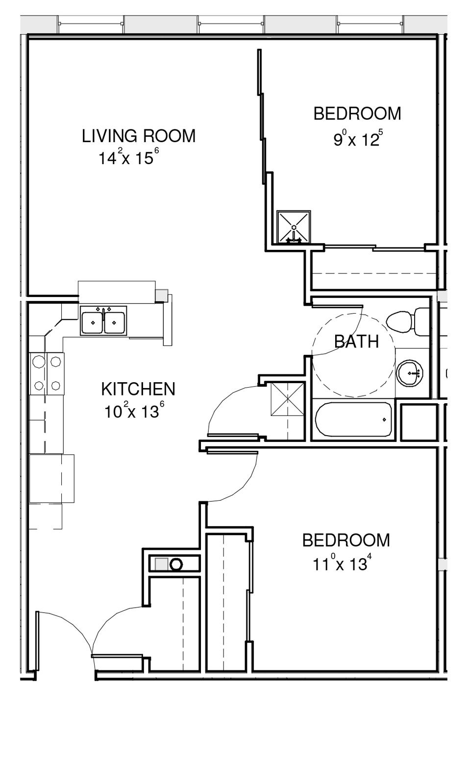 the hawks two bedroom floorplan demo